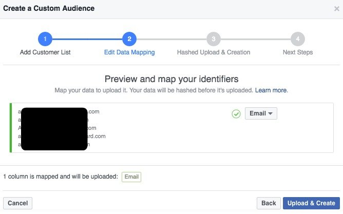 ... create 1 audience from email addresses and a different audience from